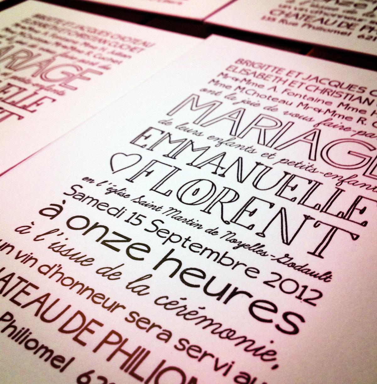 Florent & Emmanuelle's Wedding Invites